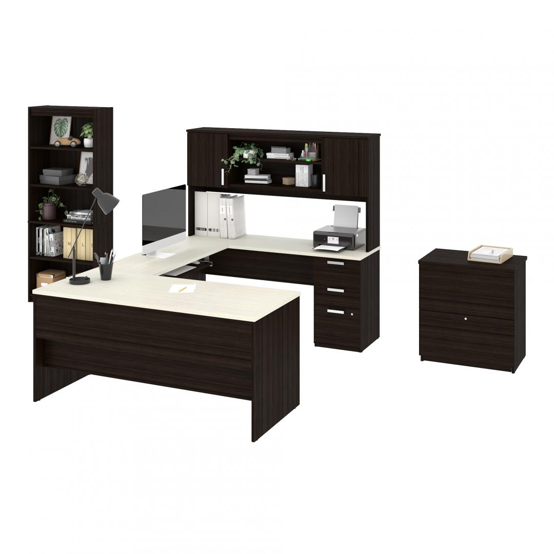 U or L-Shaped Desk with hutch, a lateral file cabinet, and a bookcase