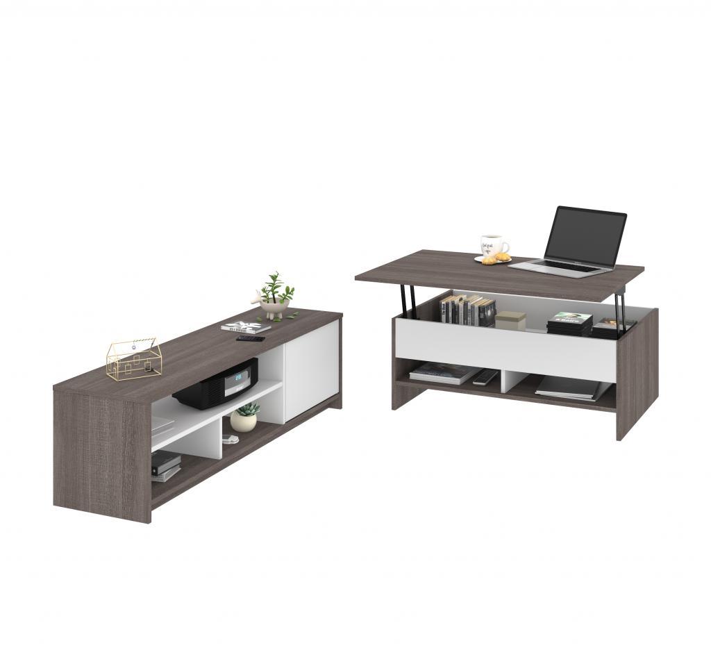 Ensemble de 2 articles incluant une table à café avec plateau relevable et un meuble télévision