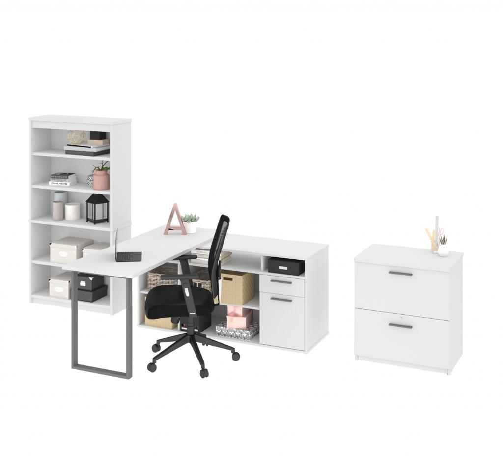 3-Piece set including an L-shaped desk, a lateral file cabinet and a bookcase
