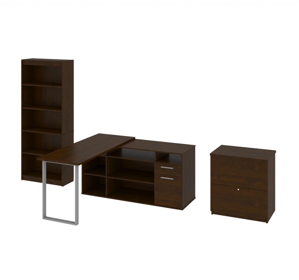 3-Piece set including an L-shaped desk, a lateral file cabinet, and a bookcase