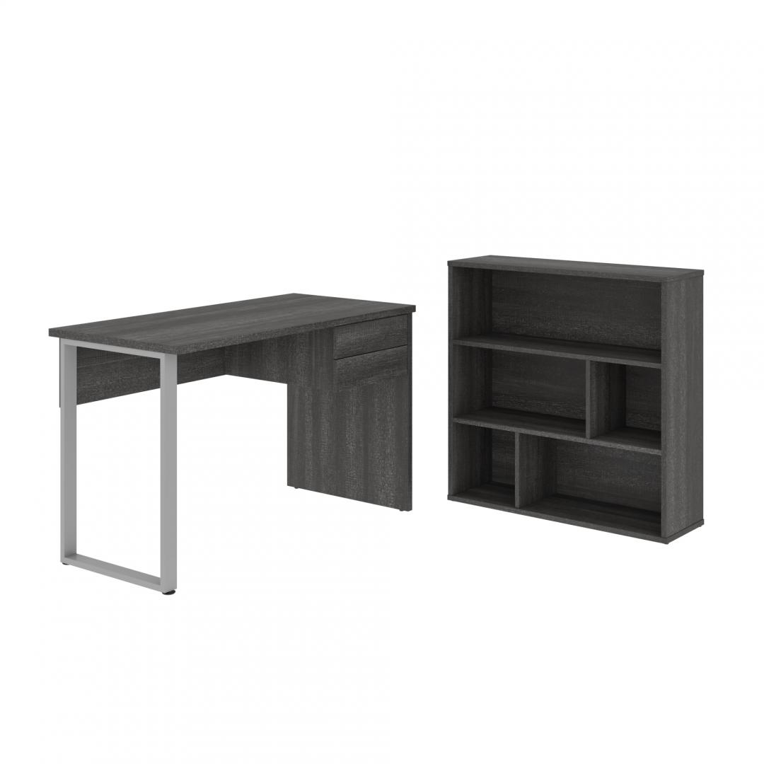 Solay 2-pcs Computer desk with asymmetrical shelving bookcase