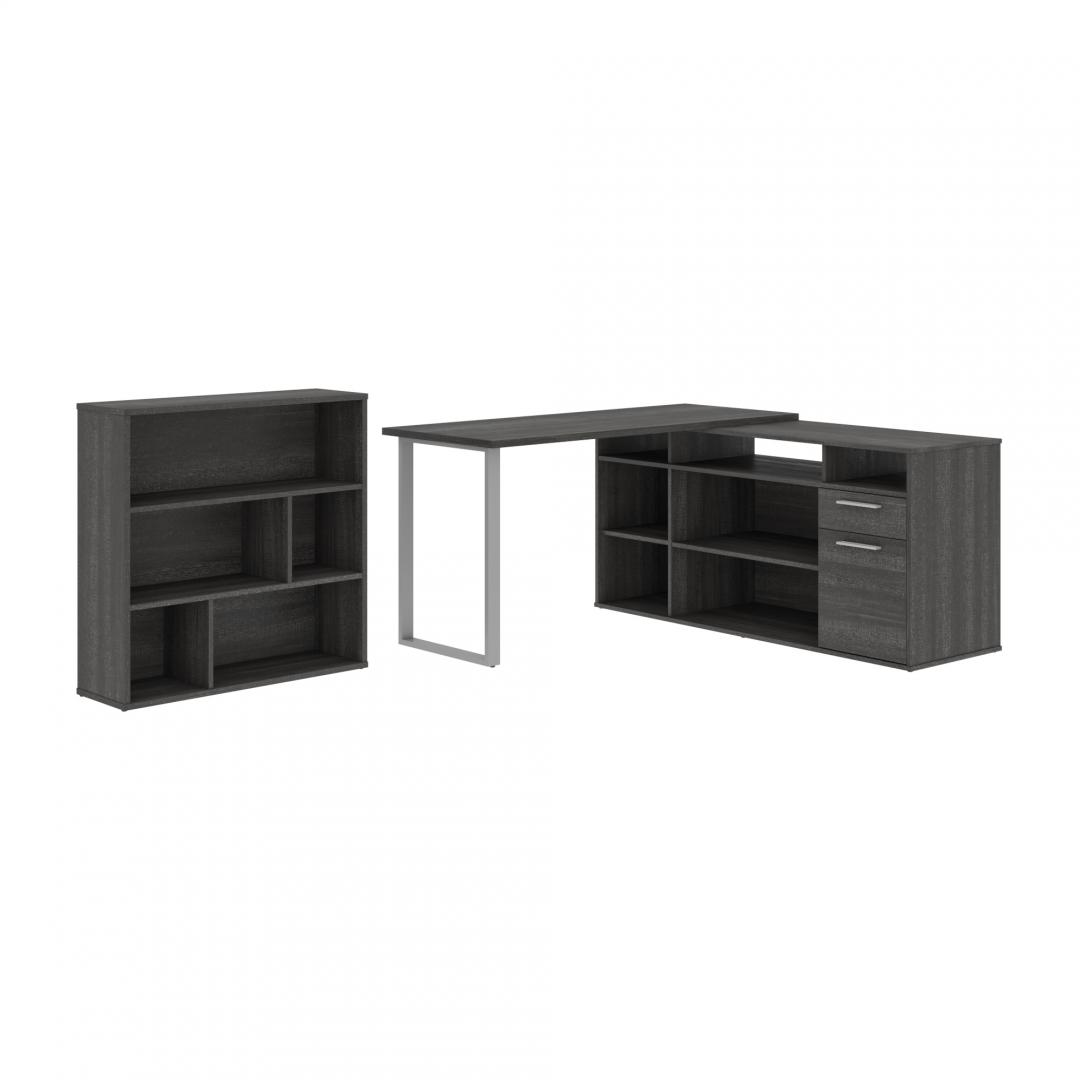 Solay 2-pcs L-Shapped desk with asymmetrical shelving bookcase