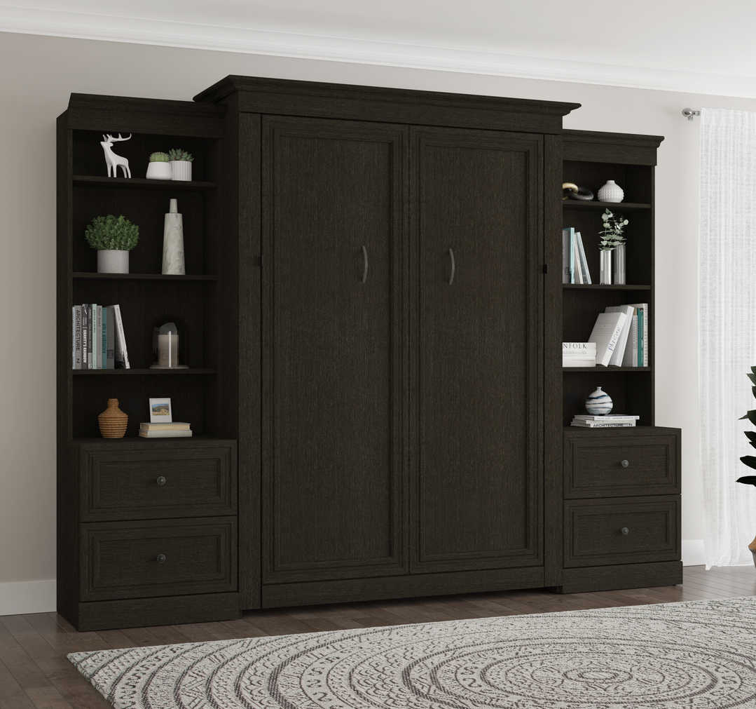 Full Murphy Bed and 2 Shelving Units with 2 Drawers (109W)