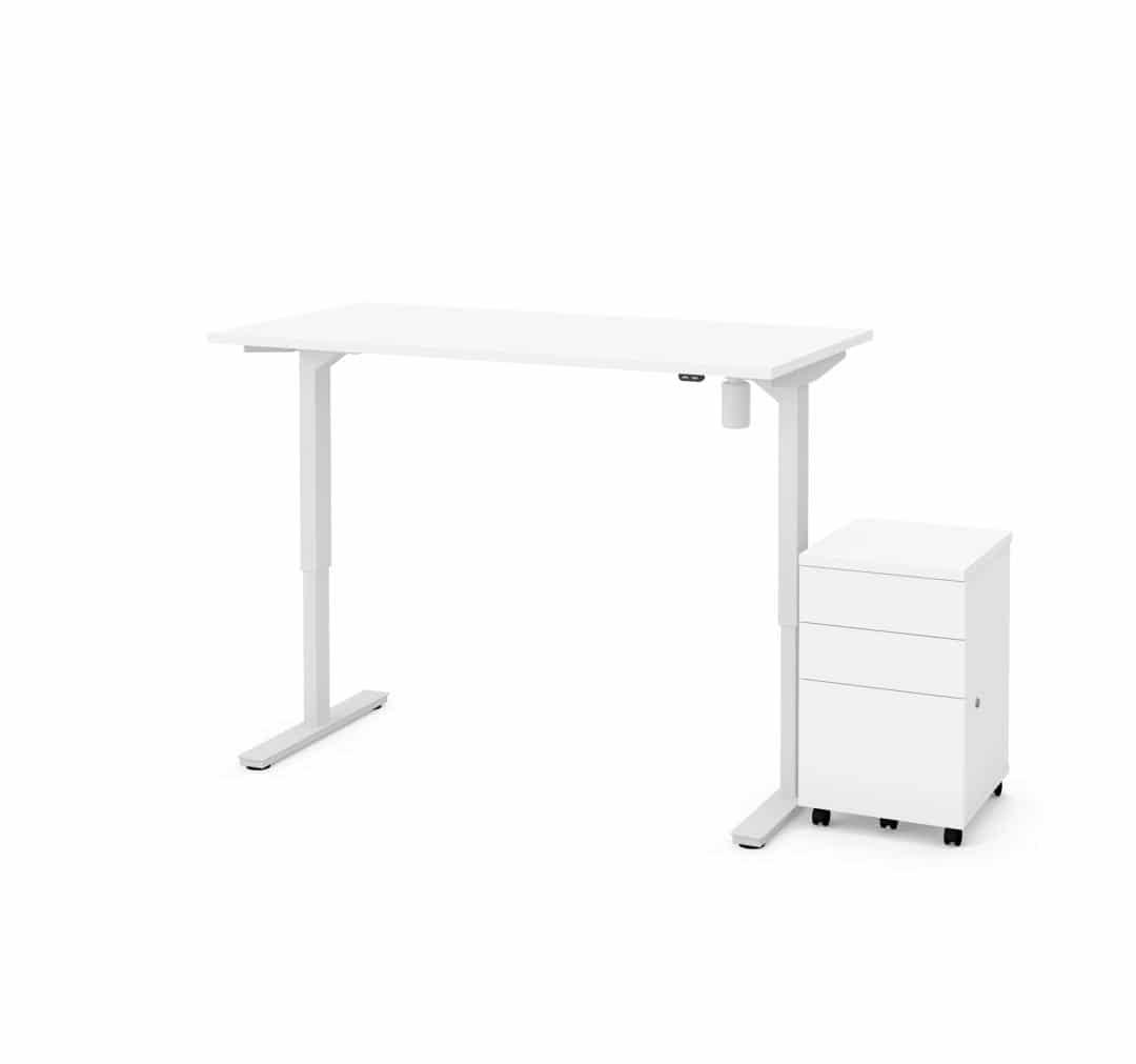 "2-Piece set including 30"" x 60"" standing desk and an assembled mobile pedestal"