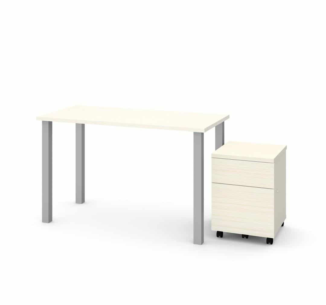 "2-Piece set including 24"" x 48"" table desk and mobile pedestal"
