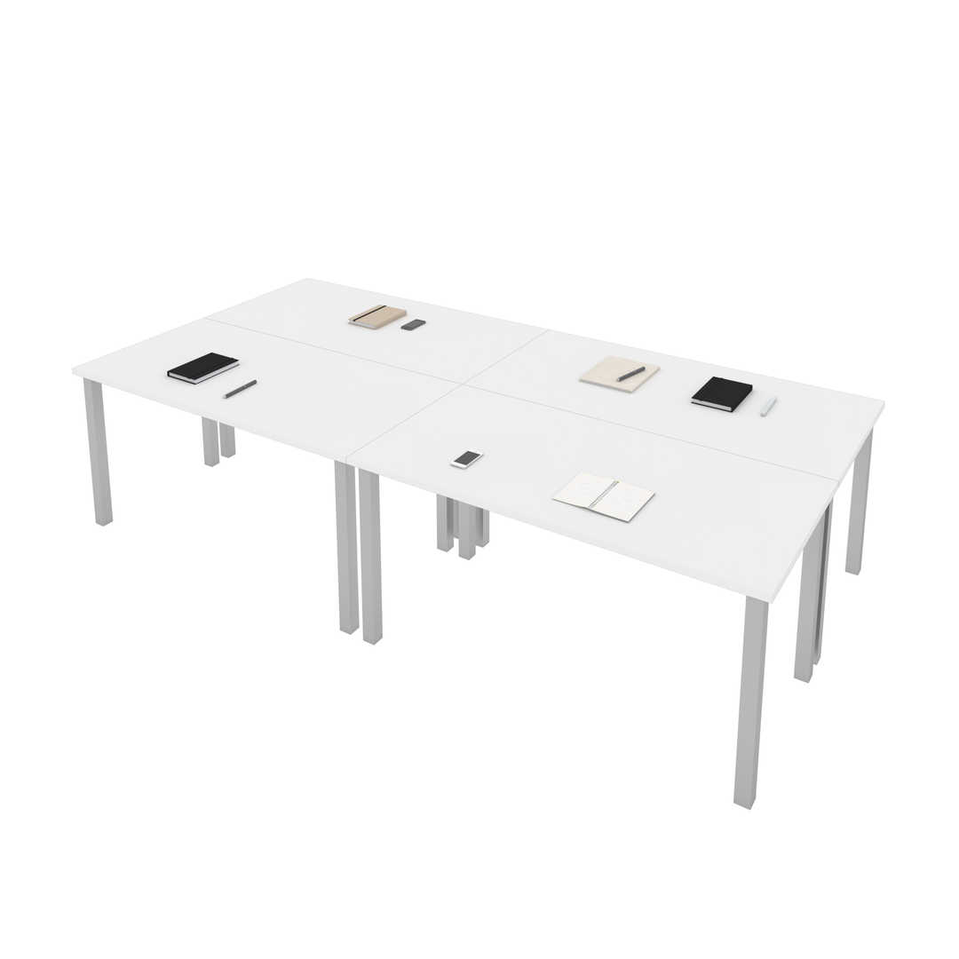 Four 60W x 30D Table Desks with Square Metal Legs
