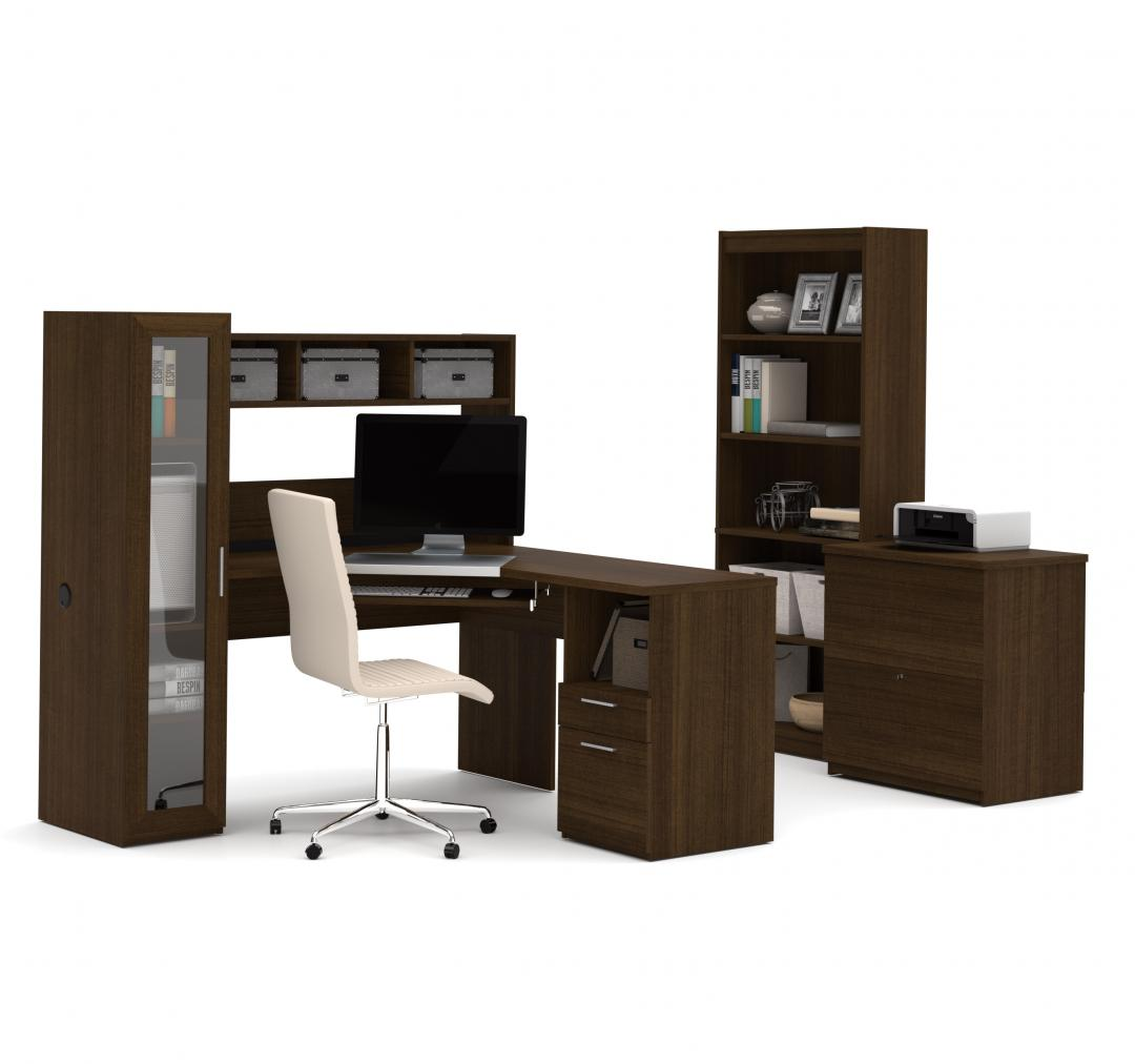Corner Workstation with lateral file and bookcase