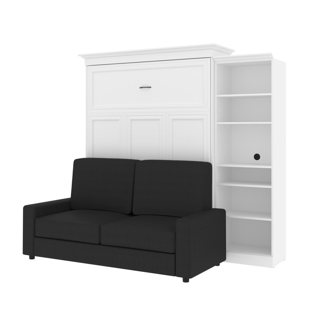 Lit queen escamotable (grand lit), une unité de rangement et un sofa