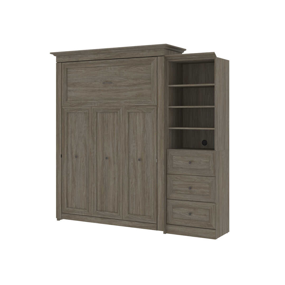 Queen Murphy Bed and Shelving Unit with 3 Drawers (92W)
