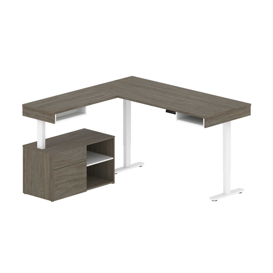 72W L-Shaped Standing Desk with Credenza
