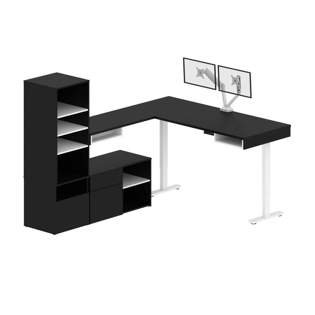 Two 72W L-Shaped Standing Desks with Dual Monitor Arms and Storage