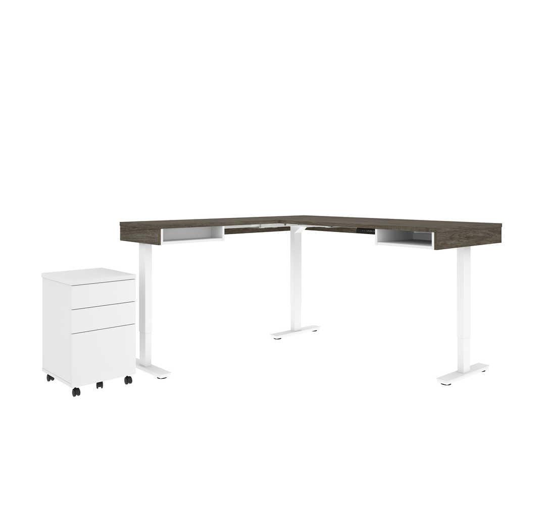 Viva L-Shaped Height-adjustable table with 2U1F mobile pedestal